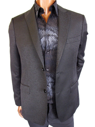 Versace Collection citi fit blazer in wave jacquard pattern.