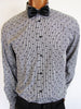Versace Collection trend fit shirt in black and white check pattern with black dot embroidery.