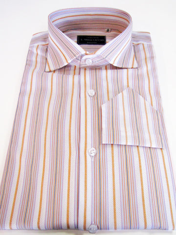 Sartorial classic fit shirt in bright striped pattern handmade by crafted Italy.