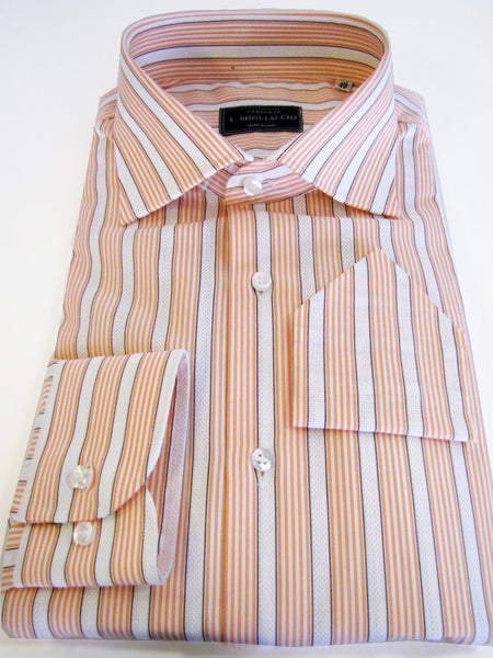Sartorial classic fit shirt in textured striped pattern handmade by crafted artisans in Italy.