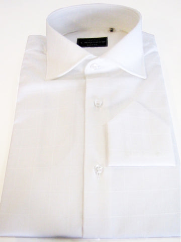 Sartorial classic fit shirt in tonal windowpane jacquard handmade by crafted artisans in Italy.