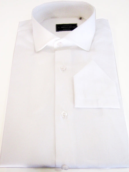 Sartorial classic fit solid shirt in white handmade by crafted artisans in Italy.