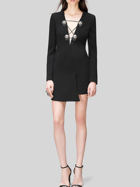 Versus Versace Plunge Neck Mini Dress
