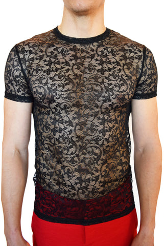 Versace  Girocollo Stretch Lace T-Shirt