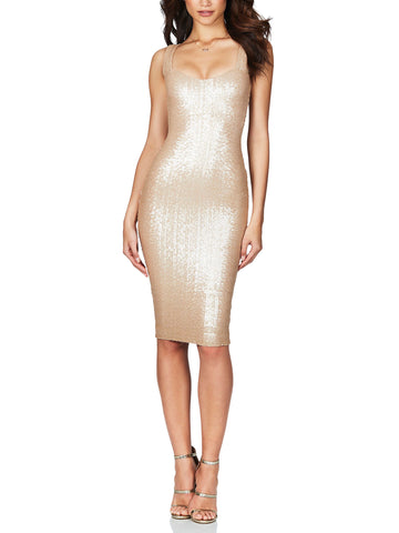 Smoulder Stretch Sequin Midi Dress