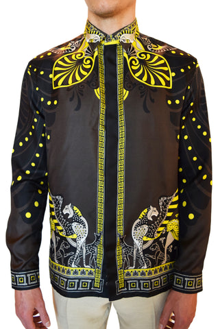 Versace Collection Camicia City Print Silk Shirt