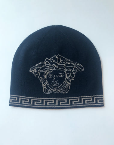 Versace Medusa Head Wool Silk Blend Beanie