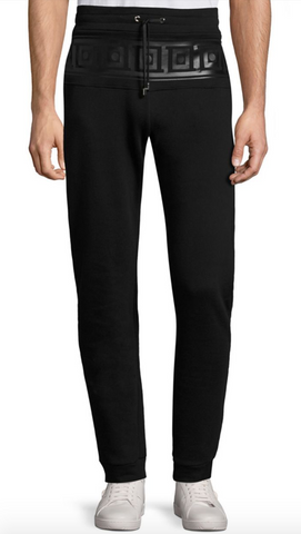 Versace Collection Frame Print Cotton Fleece Pants