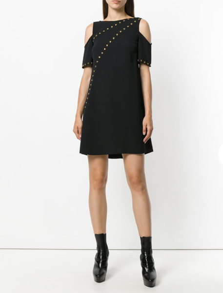 Versace Collection Studded Cold Shoulder Dress