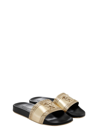 VERSACE Greek Key Medusa Slides