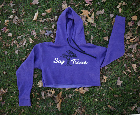 Say Treees Purple Crop Hoodie