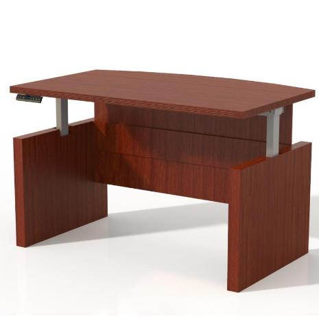 ABDH Aberdeen® Bow Front, Height Adjustable Desk With Base 72W x 42D or 66W x 42D