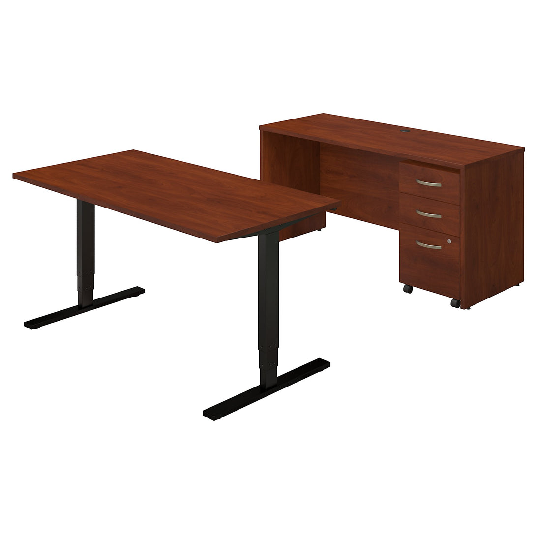 Series C Elite 60W Height Adjustable Standing Desk with Credenza and Storage