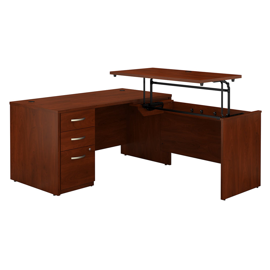 Series C Elite 60W x 30D 3 Position Sit to Stand L Shaped Desk with 3 Drawer File Cabinet
