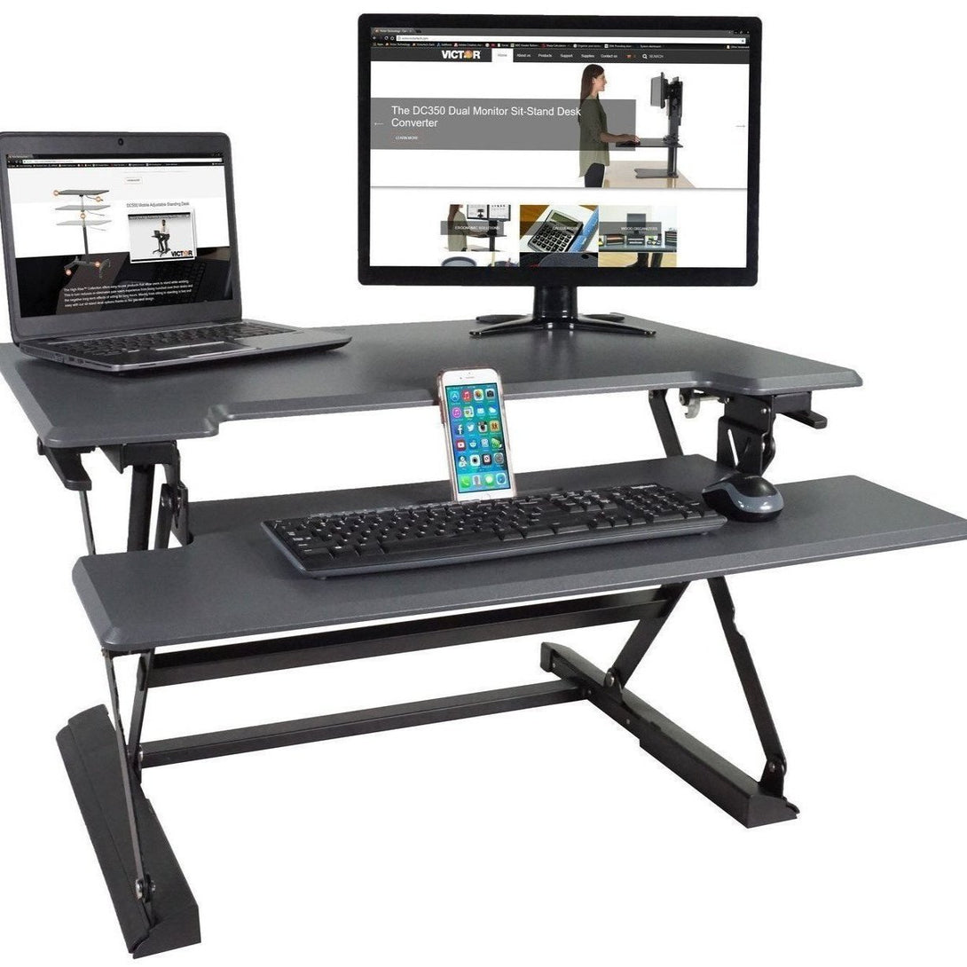 DCX760 - High Rise™ Height Adjustable Standing Desk with Keyboard Tray, Black
