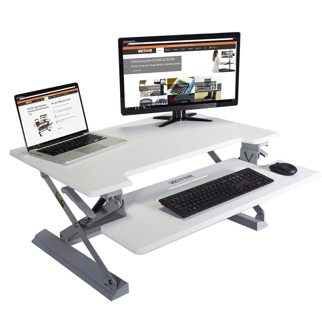 DCX760W - High Rise™ Height Adjustable Standing Desk with Keyboard Tray, White