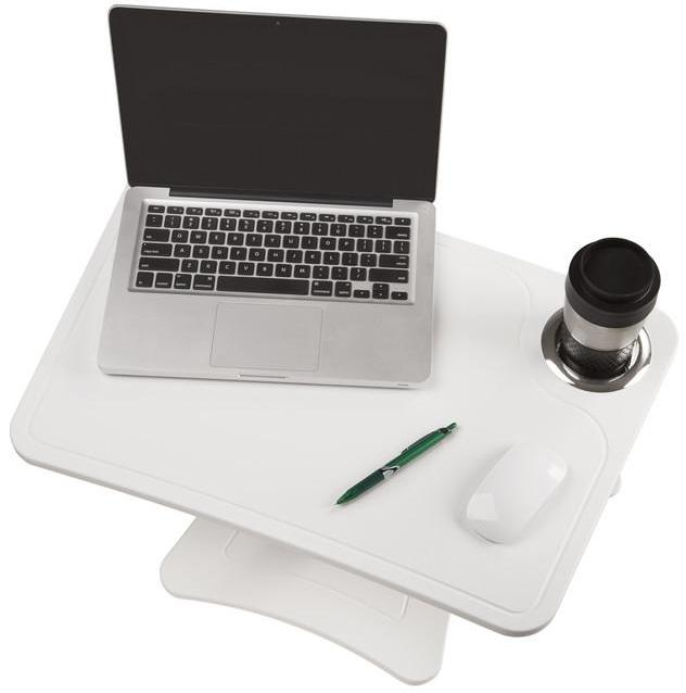 DC240W - High Rise Height Adjustable Laptop Stand with Storage Cup, White