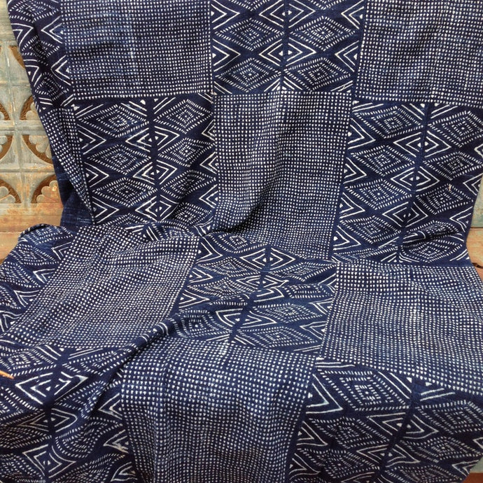 HAND-MADE BATIK INDIGO MUD CLOTH, AFRICAN