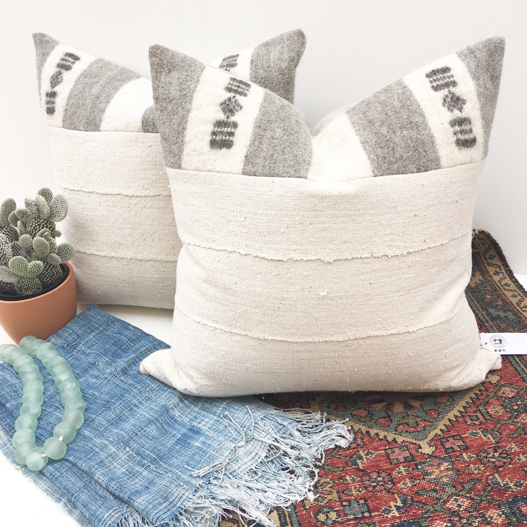 Mud Cloth Pillows with African Fulani wool trim