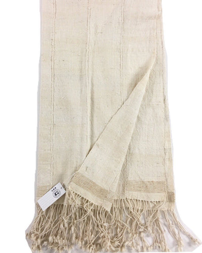 Homespun Cotton Mud Cloth throw, Rustic Textured unbleached with fringe, B