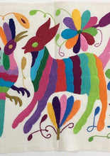 Otomi Embroidered Textile, From Mexico, Hand-Embroidery on Ivory Cotton, A24