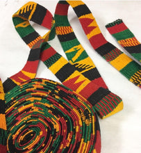 Guatemalan, Hand-Made multi color Strapping. Jamaican Design, Hand Loomed Textile, 3 Yard Piece.