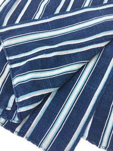 Stripe Mud Cloth, Authentic African Indigo Cotton fabric with Turquoise Stripes