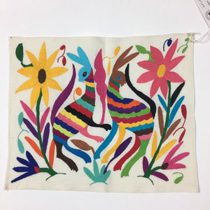Otomi Embroidered Textile, From Mexico, Hand-Embroidery on Ivory Cotton, A4