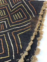 Kuba cloth textile, Black with colorful design, 25 x 24 inches, African home decor