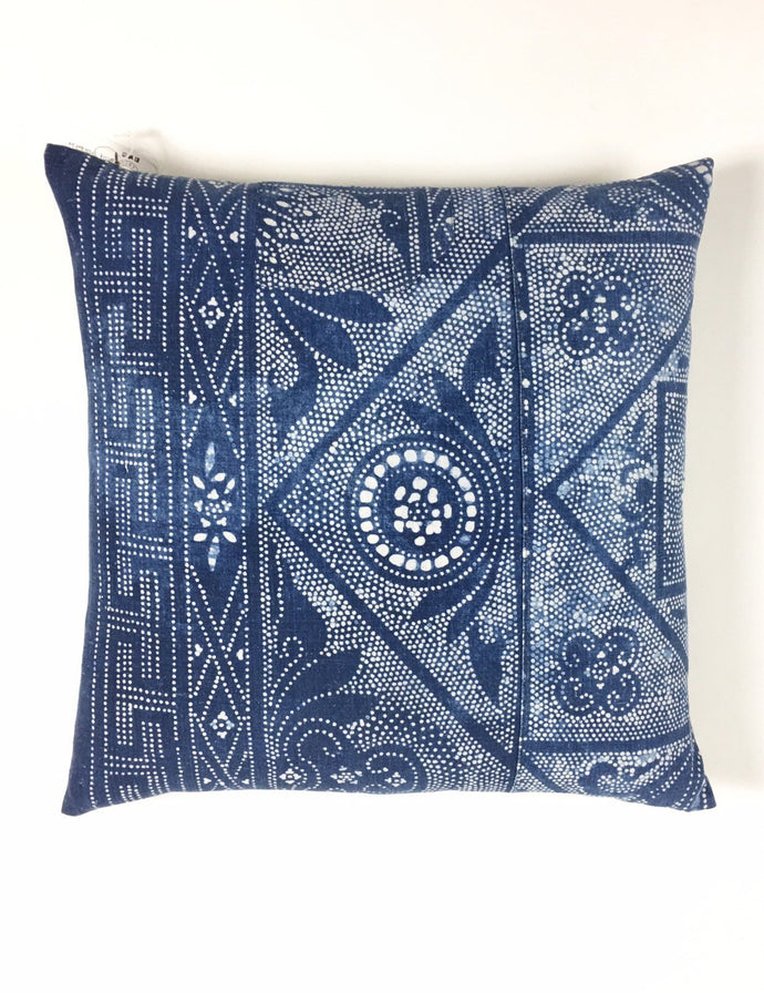 Chinese batik 24 Inch Square pillow cover, indigo and white, Hill Tribe vintage fabric Coastal Style