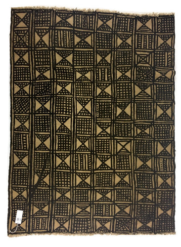 Antique Bogolanfini, Collectible Vintage African mud cloth textile, Earth Brown colors