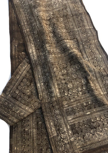 Batik, Vintage Chinese Hemp/Linen Fabric, Hmong Hill Tribe, Flax color with Bark brown