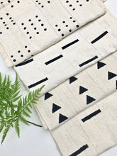Mud Cloth Fabric, Black Bars on White Bogolan, Boho design on unbleached white mud cloth.