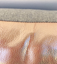 Gray Wool and Rose Gold Leather pillow covers, 20 inch square