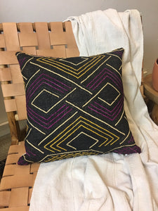 CLEARANCE! Hand Woven African Kuba cloth Pillow, tribal design, Global style home decor