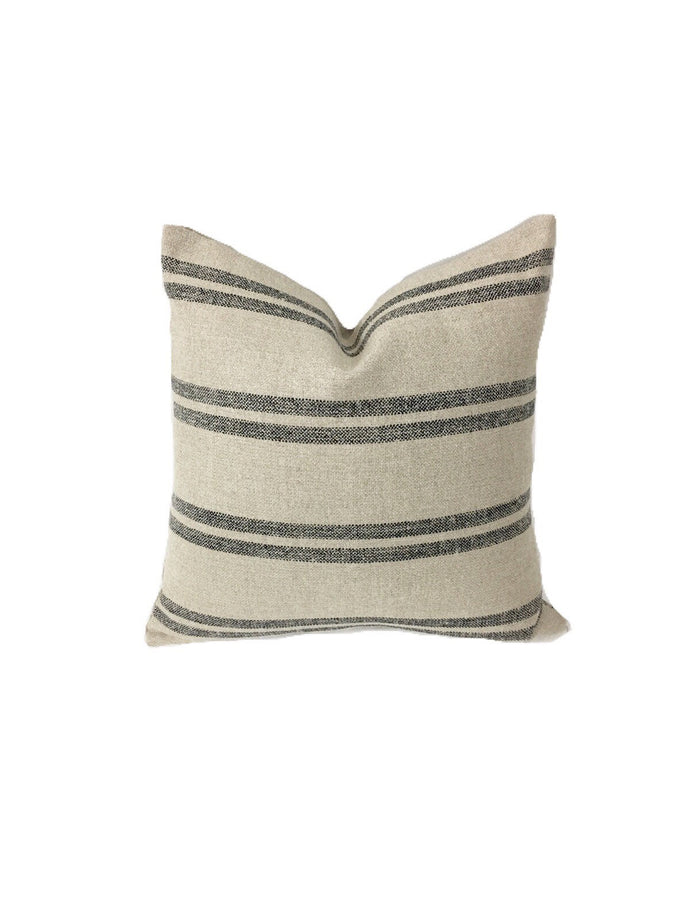 Modern Farmhouse Striped Pillow, Rustic black stripes, Two-sided Front! 20 inch squares