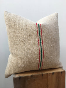 CLEARANCE! Holiday Christmas Pillow! Vintage grain sack, Reversible to Red Velvet, Rustic Style