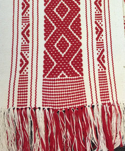 Red Boho Fringed Textile. Mexican table runner, Hand-Loomed, Boho / Southwestern Decor