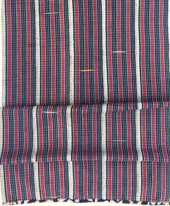 Red, White, and Indigo Blue Striped Plaid African vintage textile, Washed and ready to use