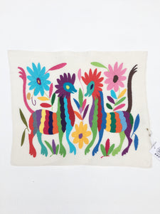 Mexican Fabric, Tenango Fabric, Multi-color Otomi Embroidered Textile. Hand-embroidery on Ivory Cotton