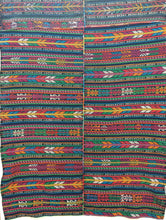 Guatemalan Fabric, vintage Throw, with Randa Embroidery, multi color Ikat