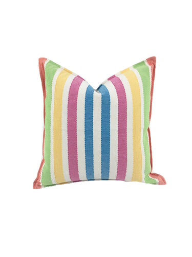 Mexican pillow cover, Rainbow Striped, Bohemian, Global Style Home Decor, All Cotton