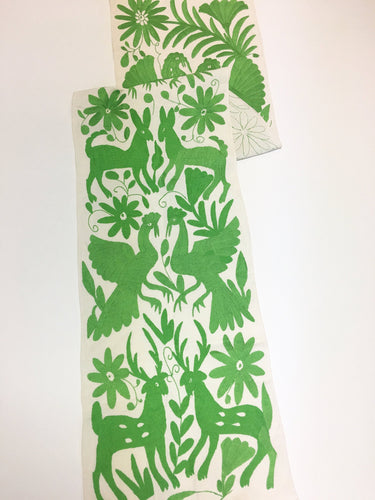 Green Otomi Table Runner from Mexico, Otomi Embroidery,Hand-embroidery on Ivory Cotton
