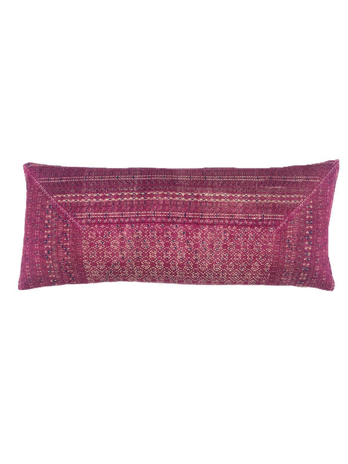 Chinese Minority Lumbar pillow with insert, pink silk vintage textile accent piece