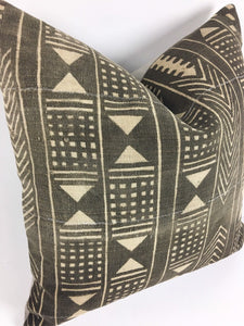 Mud Cloth Pillow, Vintage Bogolan Cotton Front, Brown Global Style Print, Premium Construction, #20B