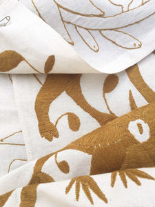 Golden Brown Otomi Fabric, Mexican Tenango, Hand-embroidery on Ivory Cotton