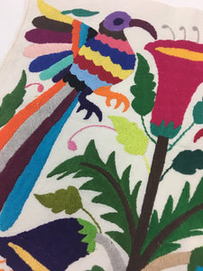Otomi Embroidered Textile, From Mexico, Hand-Embroidery on Ivory Cotton, A13