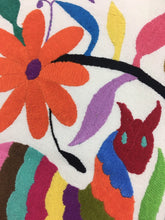 Otomi Embroidered Textile, From Mexico, Hand-Embroidery on Ivory Cotton, A25