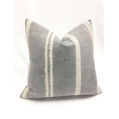 Gray Shibori Asian Hill Tribe Pillow, 22