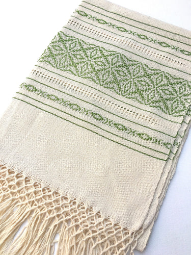 Boho Style Mexican Scarf or Throw, loose weave design, unbleached cotton, Fringe Detail Ivory/Green
